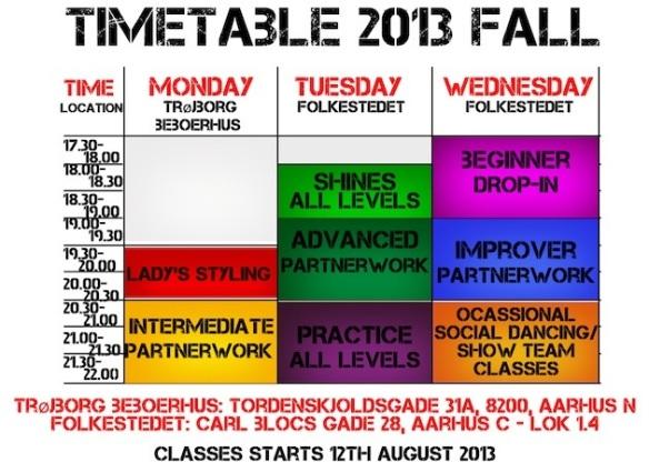 Mambo timetable-Fall